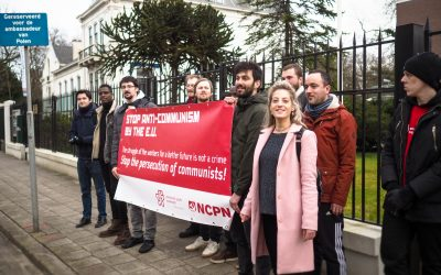 Protest at the Polish embassy against the persecution of communists
